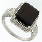 6.96ctw Garnet and Diamond Ring in Sterling Silver