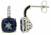 7.48ctw Mystic Blueish with CZ Earrings in Sterling Silver