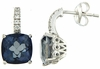 7.48ctw Mystic Iolite Blue with CZ Earrings in Sterling Silver
