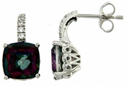 7.48ctw Mystic with CZ Earrings in Sterling Silver