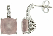 7.48ctw Rose Quartz with CZ Earrings in Sterling Silver