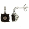 7.48ctw Smokey Quartz with CZ Earrings in Sterling Silver
