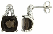 7.54ctw Smokey Quartz Earrings in Sterling Silver