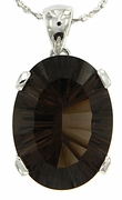 """7.96ctw Smokey Quartz Pendant in Sterling Silver with 18""""Chain"""