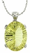 "7.98ctw Lemon Quartz Pendant in Sterling Silver with 18""Chain"