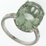 8.20ctw Green Amethyst and Diamond Ring in Sterling Silver