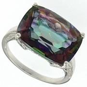 9.35ctw Mystic and Diamond Ring in Sterling Silver