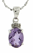 "1.52ctw Amethyst and Diamond Pendant in Sterling Silver with 18"" Chain"