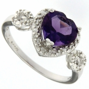 1.39ctw Amethyst and Diamond Ring in Sterling Silver