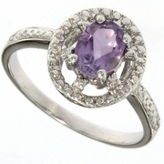 0.76ctw Amethyst and Diamond Ring in Sterling Silver