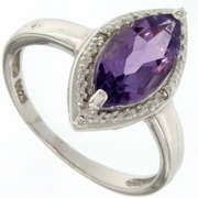 1.64ctw Amethyst and Diamond Ring in Sterling Silver