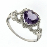 2.17ctw Amethyst and Diamond Ring in Sterling Silver