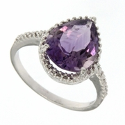 3.64ctw Amethyst and Diamond Ring in  Sterling Silver