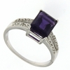 2.21ctw Amethyst and Diamond Ring in  Sterling Silver
