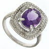 2.42ctw Amethyst and Diamond Ring in Sterling Silver
