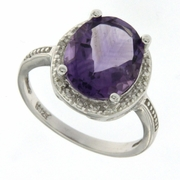 4.02ctw Amethyst and Diamond Ring in Sterling Silver