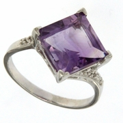 3.66ctw Amethyst and Diamond Ring in Sterling Silver