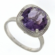 4.13ctw Amethyst and Diamond Ring in Sterling Silver