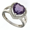 2.87ctw Amethyst and Diamond Ring in Sterling Silver