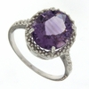 4.08ctw Amethyst and Diamond Ring in Sterling Silver