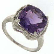 7.04ctw Amethyst and Diamond Ring in Sterling Silver