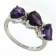2.51ctw Amethyst and Diamond Ring in Sterling Silver