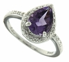 1.31ctw Amethyst and Diamond Ring in Sterling Silver