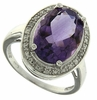 5.12ctw Amethyst and Diamond Ring in Sterling Silver