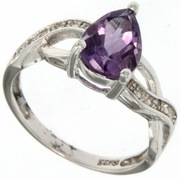 1.73ctw Amethyst and Diamond Ring in  Sterling Silver