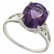 3.17ctw Amethyst and Diamond Ring in  Sterling Silver