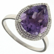 3.97ctw Amethyst and Diamond Ring in Sterling Silver