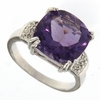 7.04ctw Amethyst and Diamonnd Ring in Sterling Silver