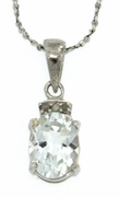 "1.52ctw Aquamarine and Diamond Pendant in Sterling Silver with 18"" Chain"