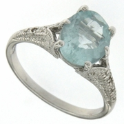 2.41ctw Aquamarine and Diamond Ring in Sterling Silver