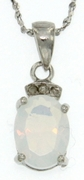 "1.50ctw Opal Pendant in Sterling Silver with 18"" Chain"