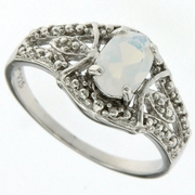 0.66ctw Opal and Diamond Ring in Sterling Silver