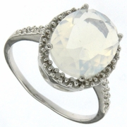 3.84ctw Opal and Diamond Ring in Sterling Silver