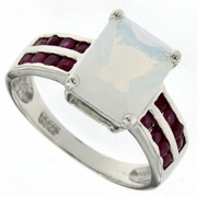 4.64ctw Opal and Ruby Ring in Sterling Silver