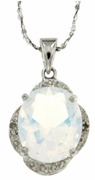 "3.81ctw Opal Pendant in Sterling Silver with 18"" Chain"