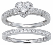 0.56ctw Diamond Heart Shape Bridal Set Rings in 14KW or 10KT
