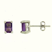 1.10ctw Amethyst Stud Earrings in Sterling Silver