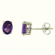 1.83ctw Amethyst Stud Earrings in Sterling Silver
