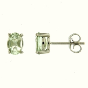 1.83ctw Green Amethyst Stud Earrings in Sterling Silver
