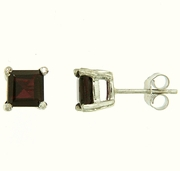 2.00ctw Garnet Stud Earrings in Sterling Silver