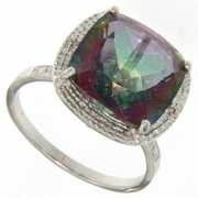 6.62ctw Fancy Quartz and Diamond Ring in Sterling Silver