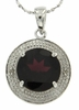 "4.01ctw Garnet and Diamond Pendant in Sterling Silver with 18"" Chain"