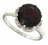 3.90ctw Garnet and Diamond Ring in Sterling Silver
