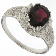 2.17ctw Garnet and Diamond Ring in Sterling Silver
