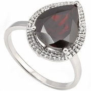 4.35ctw Garnet and Diamond Ring in Sterling Silver