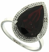 6.26ctw Garnet and Diamond Ring in Sterling Silver